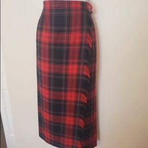 Rafaella 100% wool plaid maxi wrap skirt
